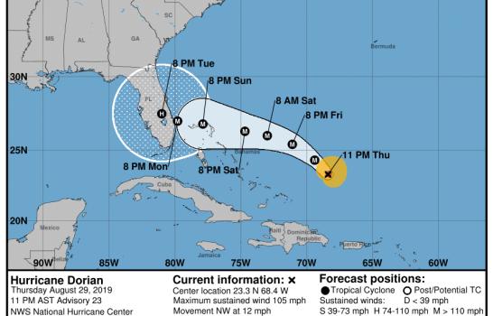 El huracán Dorian se intensifica a medida que se dirige hacia EEUU